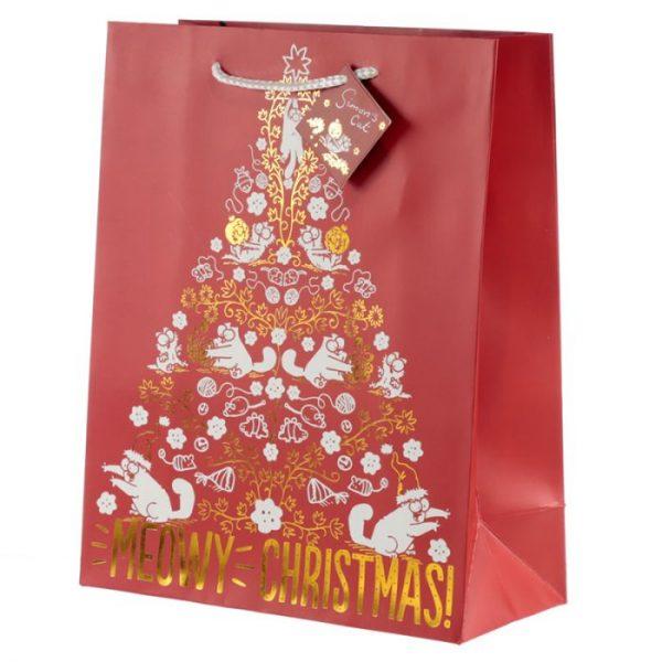 Simon's Cat Meowy Vánoční metalická dárková taška - velká 1 - pro milovníky koček