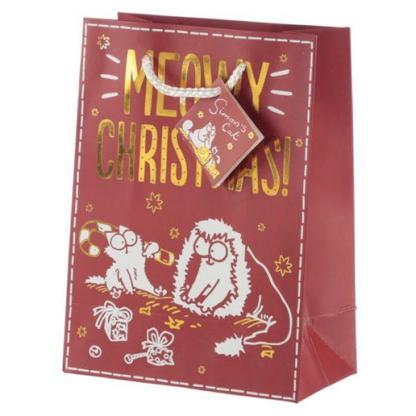 Simon's Cat Meowy Vánoční metalická dárková taška - střední 2 - pro milovníky koček
