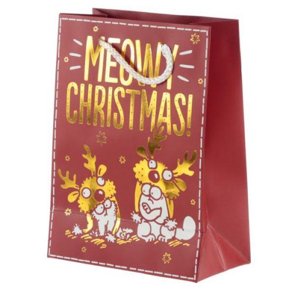 Simon's Cat Meowy Vánoční metalická dárková taška - střední 3 - pro milovníky koček