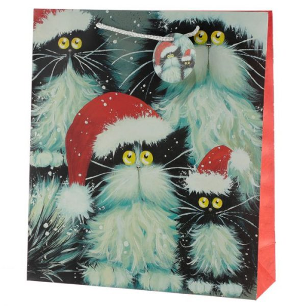 Kim Haskins Vánoční kočičí Dárková taška - extra velká 1 - pro milovníky koček