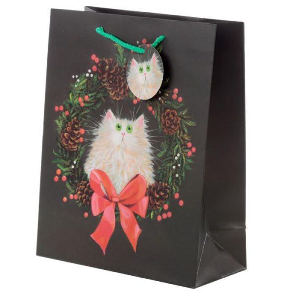 Velká dárková taška Kočka a vánoční věnec, design Kim Haskins 1 - pro milovníky koček
