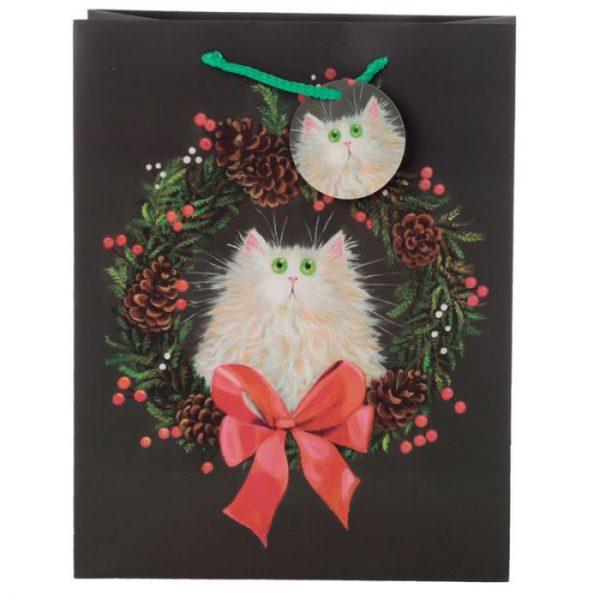 Velká dárková taška Kočka a vánoční věnec, design Kim Haskins 2 - pro milovníky koček