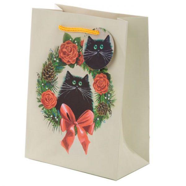 Vánoční Kim Haskins Cat Wreath Dárková taška - střední 1 - pro milovníky koček