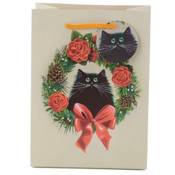 Vánoční Kim Haskins Cat Wreath Dárková taška - střední 2 - pro milovníky koček