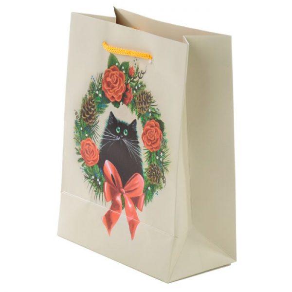 Vánoční Kim Haskins Cat Wreath Dárková taška - střední 3 - pro milovníky koček