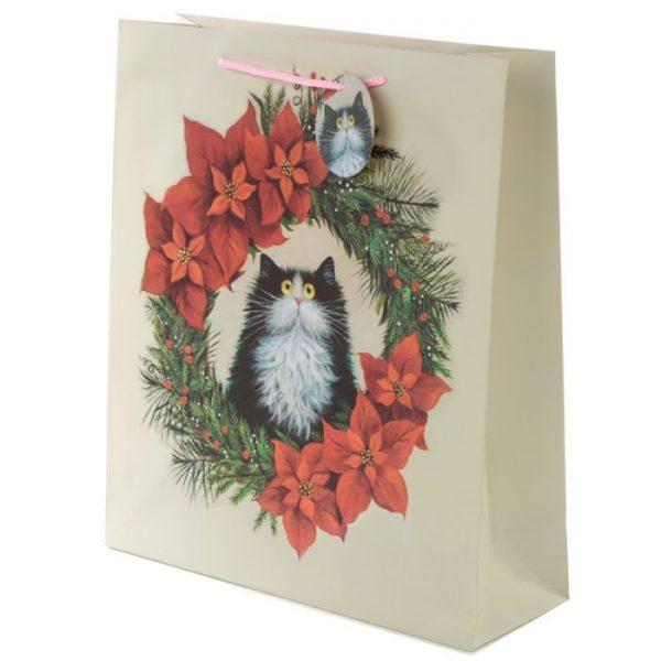 Extra velká dárková taška s motivem kočičky ve vánočním věnci Kim Haskins 1 - pro milovníky koček