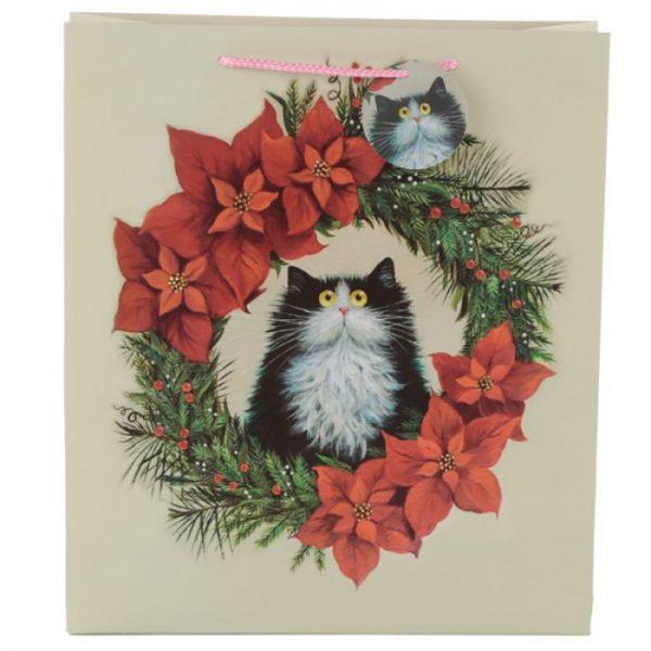 Extra velká dárková taška s motivem kočičky ve vánočním věnci Kim Haskins 2 - pro milovníky koček