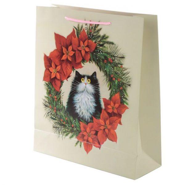 Extra velká dárková taška s motivem kočičky ve vánočním věnci Kim Haskins 3 - pro milovníky koček