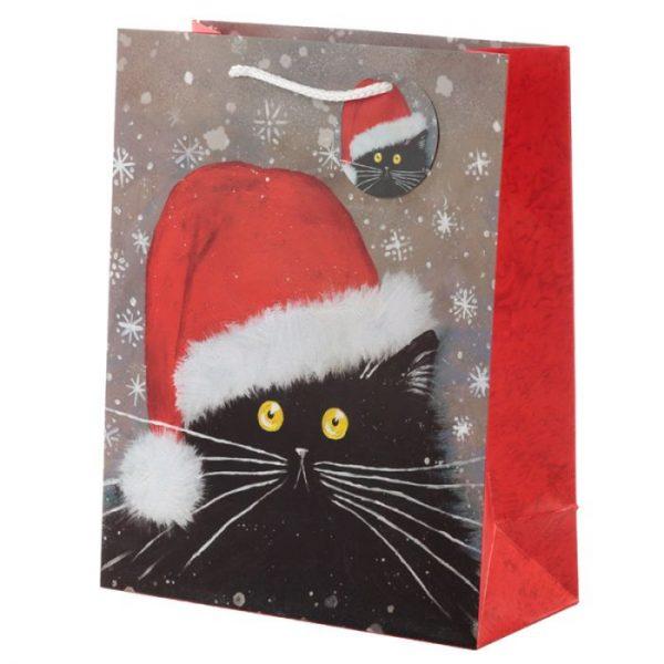 Velká dárková taška s vánočním motivem kočičky Kim Haskins 1 - pro milovníky koček