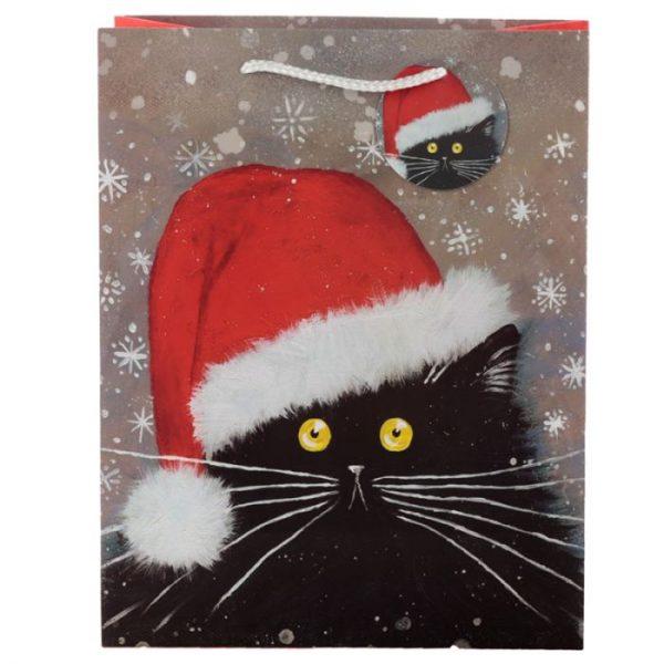 Velká dárková taška s vánočním motivem kočičky Kim Haskins 3 - pro milovníky koček