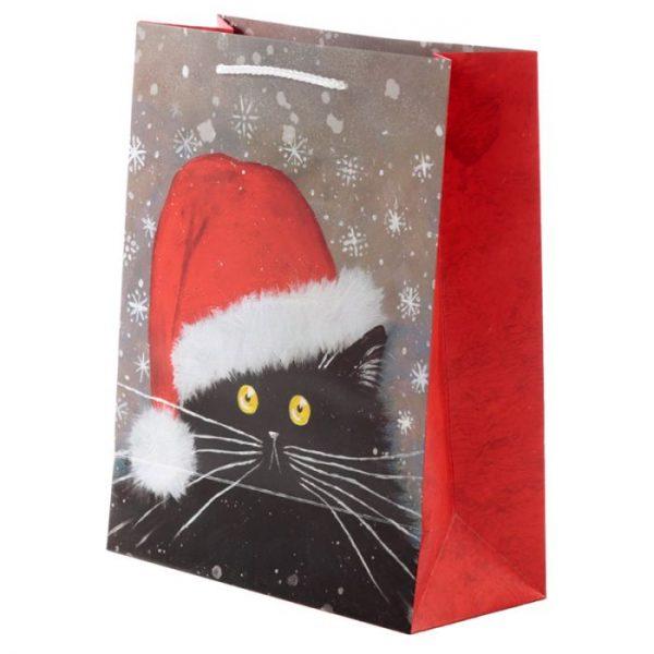 Velká dárková taška s vánočním motivem kočičky Kim Haskins 2 - pro milovníky koček