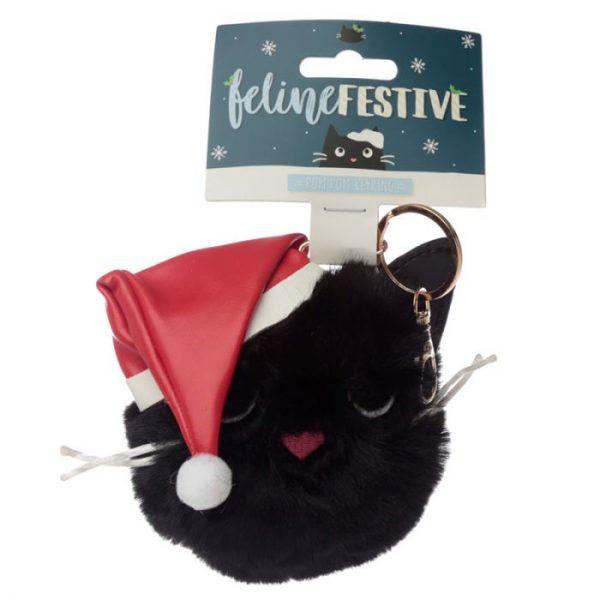 Festive Feline Vánoční kočka Pom Pom Klíčenka 1 - pro milovníky koček