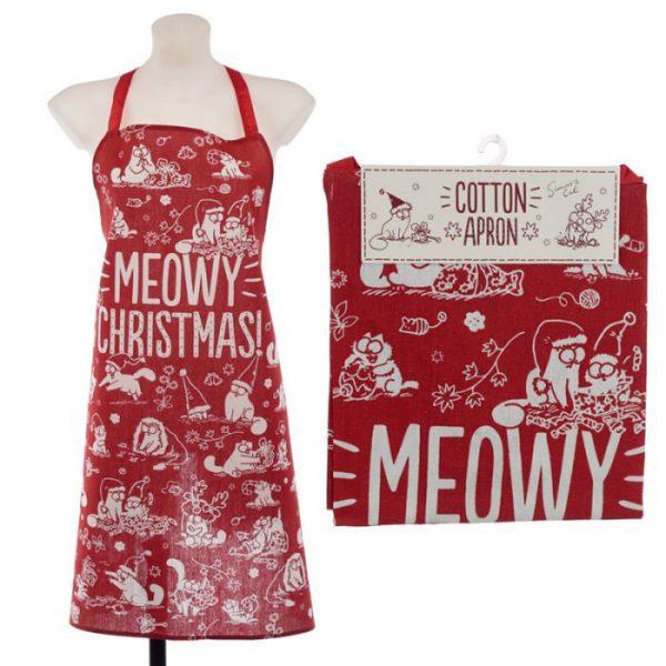 Zástěra polobavlněná - Simon's Cat Meowy Vánoční 4 - pro milovníky koček