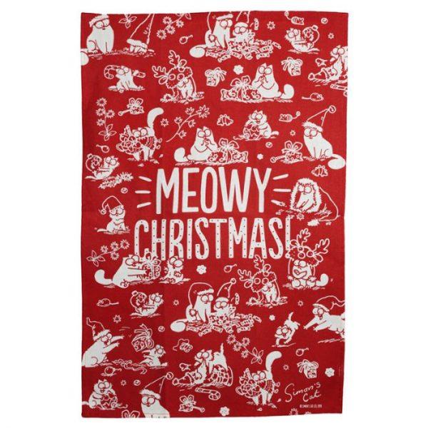 Ručník polobavlněný - Simon's Cat Meowy Vánoční 3 - pro milovníky koček