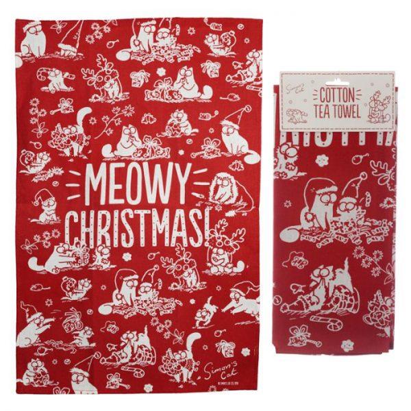 Ručník polobavlněný - Simon's Cat Meowy Vánoční 1 - pro milovníky koček