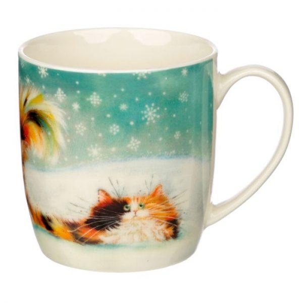 Vánoční porcelánový šálek s motivem zrzavé kočičky Kim Haskins 1 - pro milovníky koček