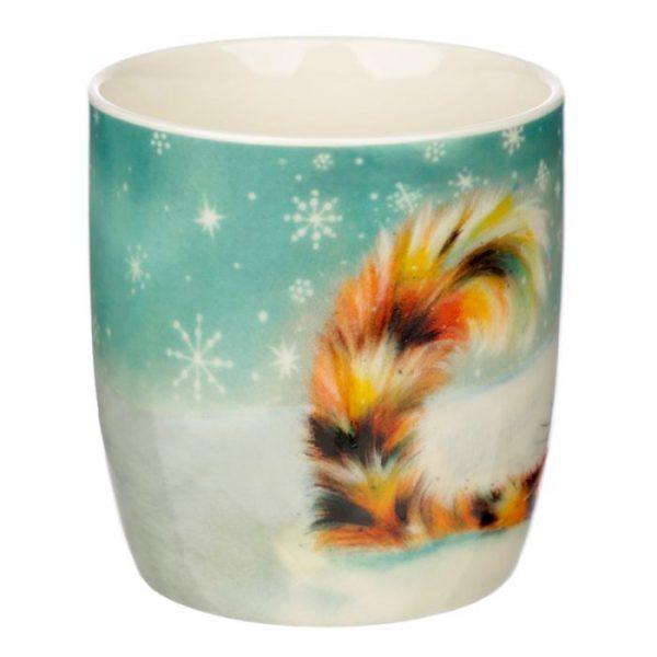 Vánoční porcelánový šálek s motivem zrzavé kočičky Kim Haskins 2 - pro milovníky koček