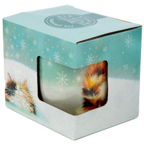 Vánoční porcelánový šálek s motivem zrzavé kočičky Kim Haskins 3 - pro milovníky koček