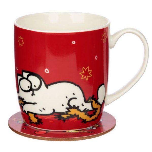Vánoční porcelánový set šálky a podšálky s motivem Simon 's Cat 1 - pro milovníky koček