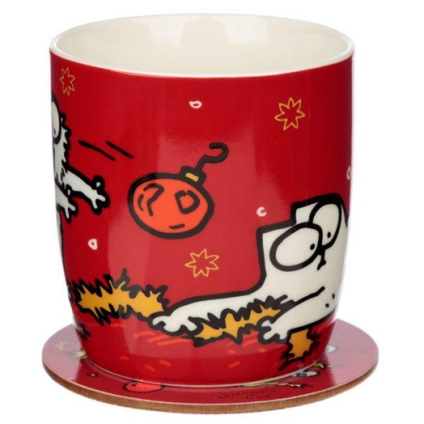 Vánoční porcelánový set šálky a podšálky s motivem Simon 's Cat 5 - pro milovníky koček