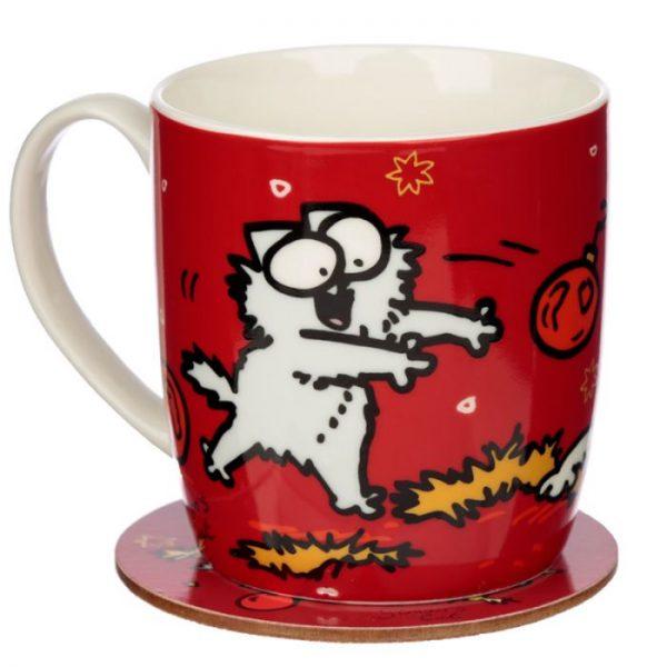Vánoční porcelánový set šálky a podšálky s motivem Simon 's Cat 4 - pro milovníky koček