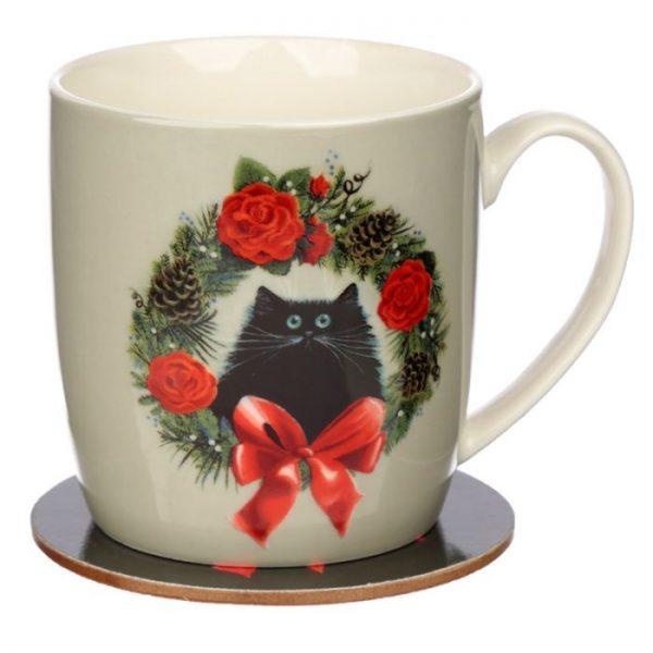 Vánoční porcelánová šálek s motivem ryšavé kočičky Kim Haskins 1 - pro milovníky koček