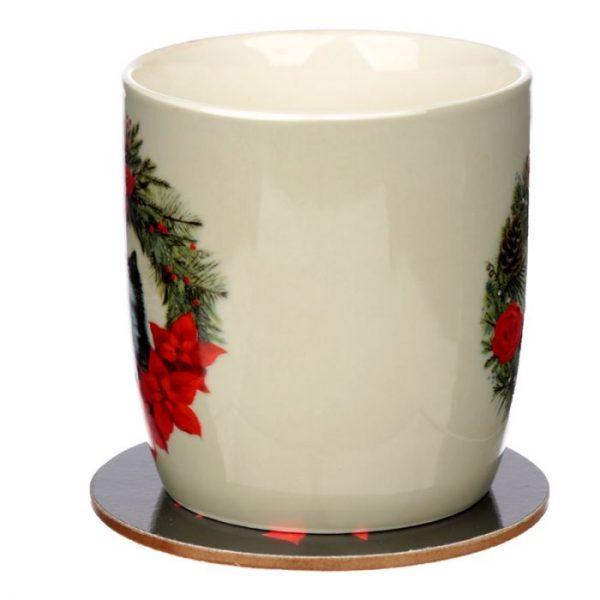 Vánoční porcelánová šálek s motivem ryšavé kočičky Kim Haskins 4 - pro milovníky koček