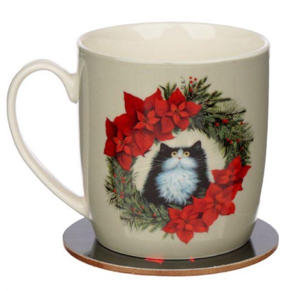 Vánoční porcelánová šálek s motivem ryšavé kočičky Kim Haskins 5 - pro milovníky koček