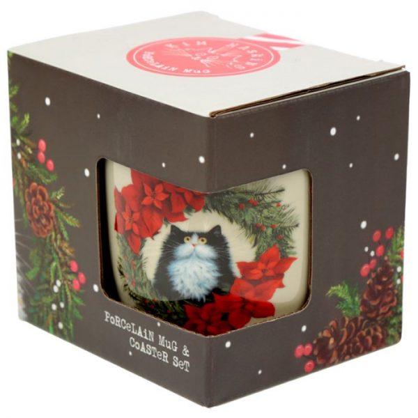 Vánoční porcelánová šálek s motivem ryšavé kočičky Kim Haskins 2 - pro milovníky koček
