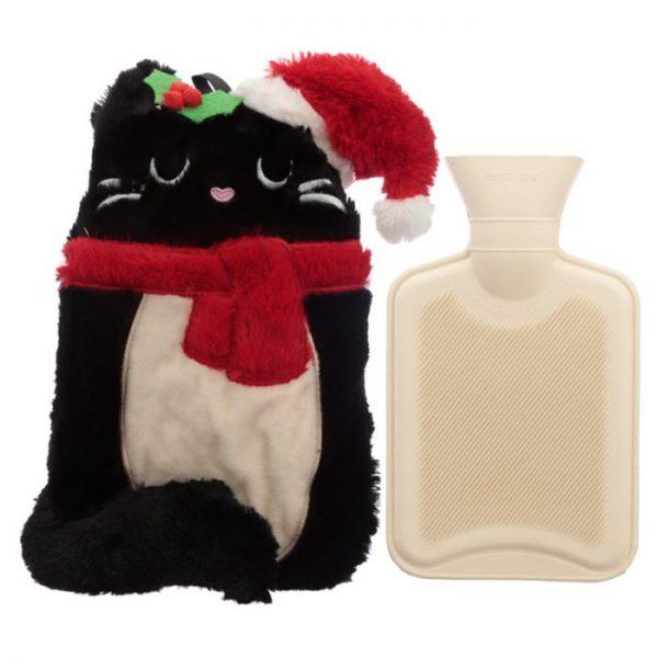 Feline Festive Vánoční Kočka 1L plyšová láhev na horkou vodu - termopolštářek 1 - pro milovníky koček