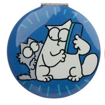 Kompaktní zrcátko s motivem Simon's Cat - modré 1 - pro milovníky koček