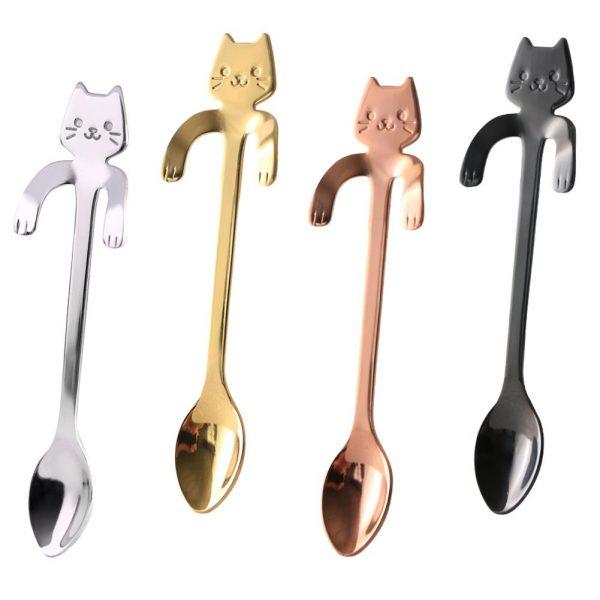Kovová lžička s motivem kočky - bronzová 7 - pro milovníky koček