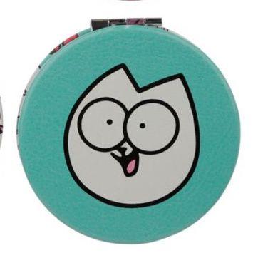Modré kompaktní zrcátko s motivem Pawsome Simon's cat 1 - pro milovníky koček