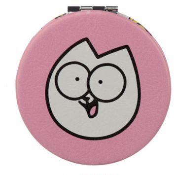 Růžové kompaktní zrcátko s motivem Pawsome Simon's cat 1 - pro milovníky koček