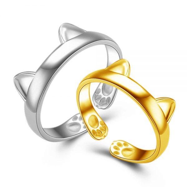 prsten -kočičí ouška - stříbrný 1 - pro milovníky koček