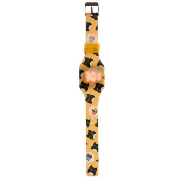 Žluté dětské silikonové digitální hodinky s motivem kočičky Feline Fine 1 - pro milovníky koček