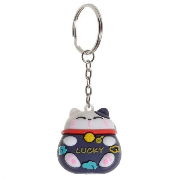 Maneki Neko kočka štěstí 3D PVC klíčenka - černá 1 - pro milovníky koček