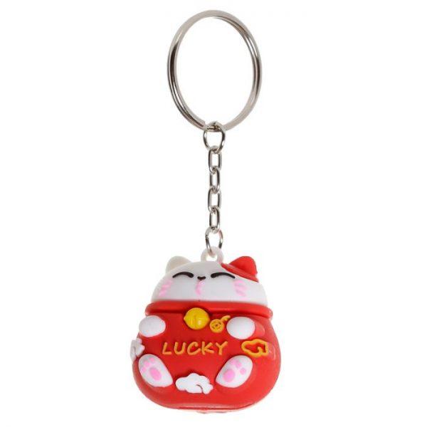 Maneki Neko kočka štěstí 3D PVC klíčenka - rudá 1 - pro milovníky koček