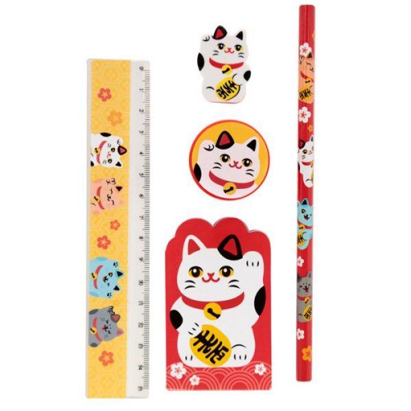 Maneki Neko kočka štěstí 5 kusový stacionární set - bílá kočka 1 - pro milovníky koček