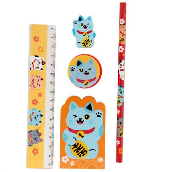 Maneki Neko kočka štěstí 5 kusový stacionární set - modrá kočka 1 - pro milovníky koček
