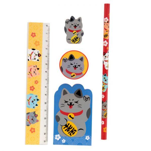 Maneki Neko kočka štěstí 5 kusový stacionární set - černá kočka 1 - pro milovníky koček