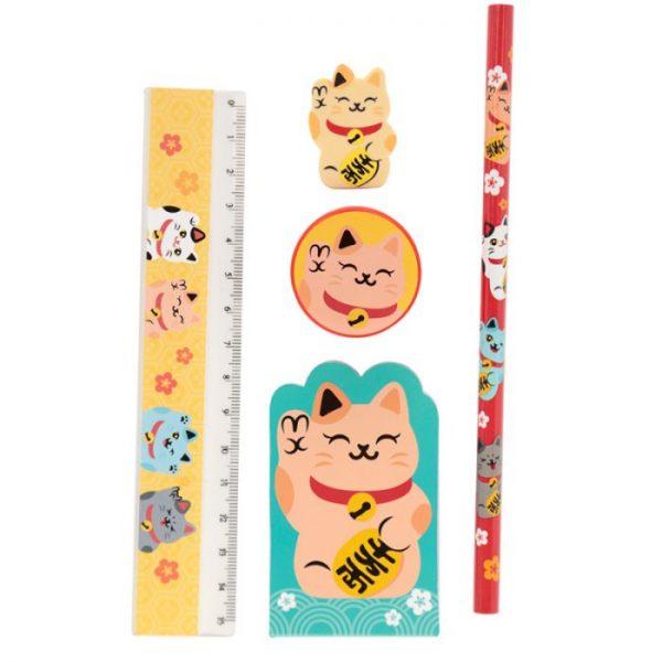 Maneki Neko Lucky Cat 5 Piece Stationary Set - Yellow cat 1 - pro milovníky koček