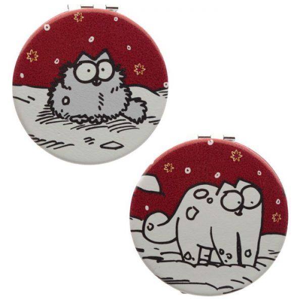 Simon's Cat Vánoční Koženkové zrcátko do kabelky - 2 1 - pro milovníky koček