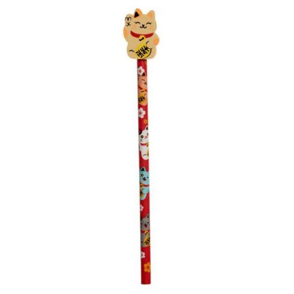 Maneki Neko kočka štěstí tužka s gumou - žlutá 1 - pro milovníky koček
