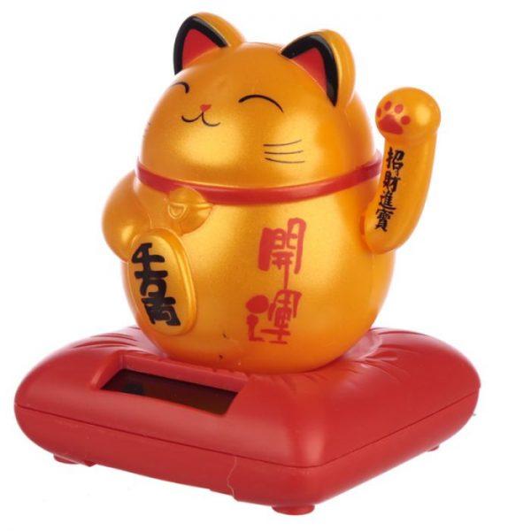 Solární mávající kočka - zlatá 1 - pro milovníky koček