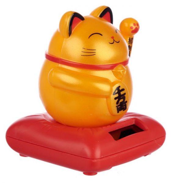 Solární mávající kočka - zlatá 3 - pro milovníky koček