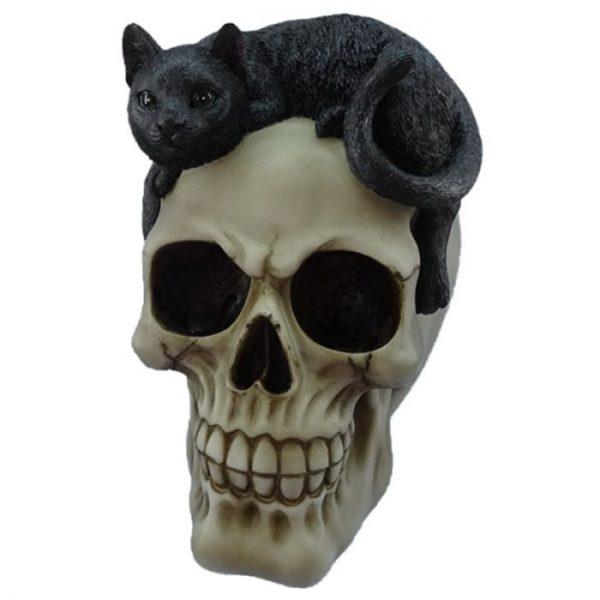 Dekorace Lebka s černou kočkou 1 - pro milovníky koček