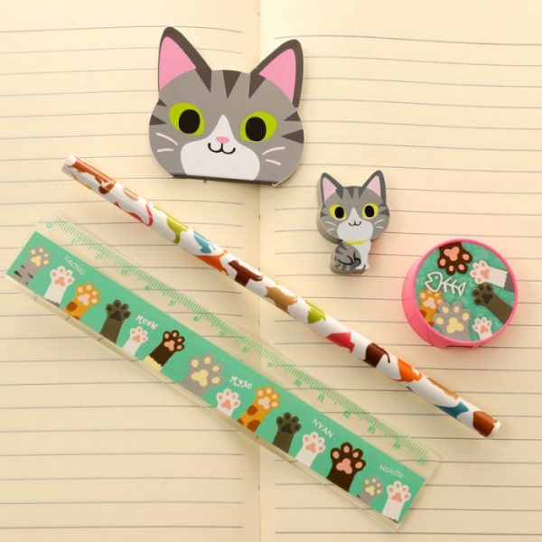 5-dílná sada kočičích školních potřeb - šedá 1 - pro milovníky koček