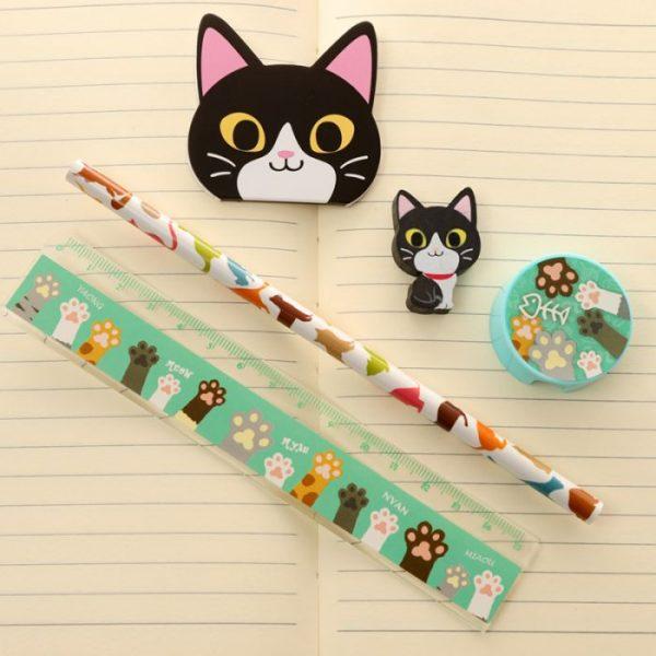 5-dílná sada kočičích školních potřeb - černá 1 - pro milovníky koček