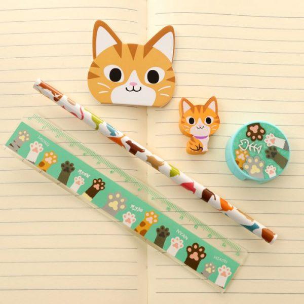 5-dílná sada kočičích školních potřeb - oranžová 1 - pro milovníky koček